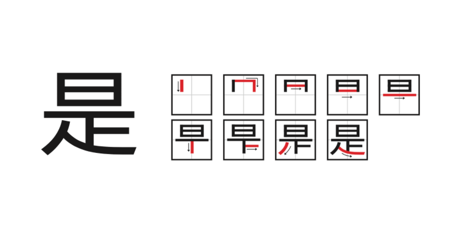 Example of Chinese stroke order rule which start with horizontal strokes and finish with vertical strokes.