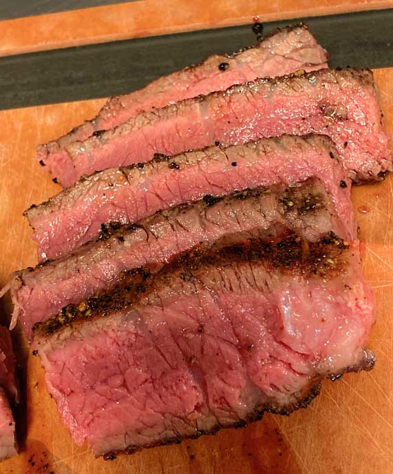 Mediaum rare steak sliced