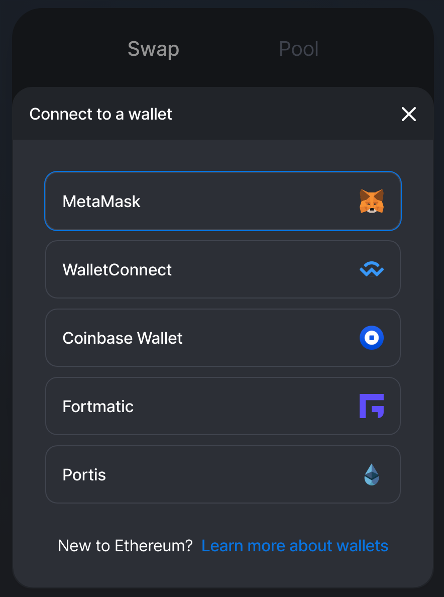connect Uniswap to MetaMask or other wallet