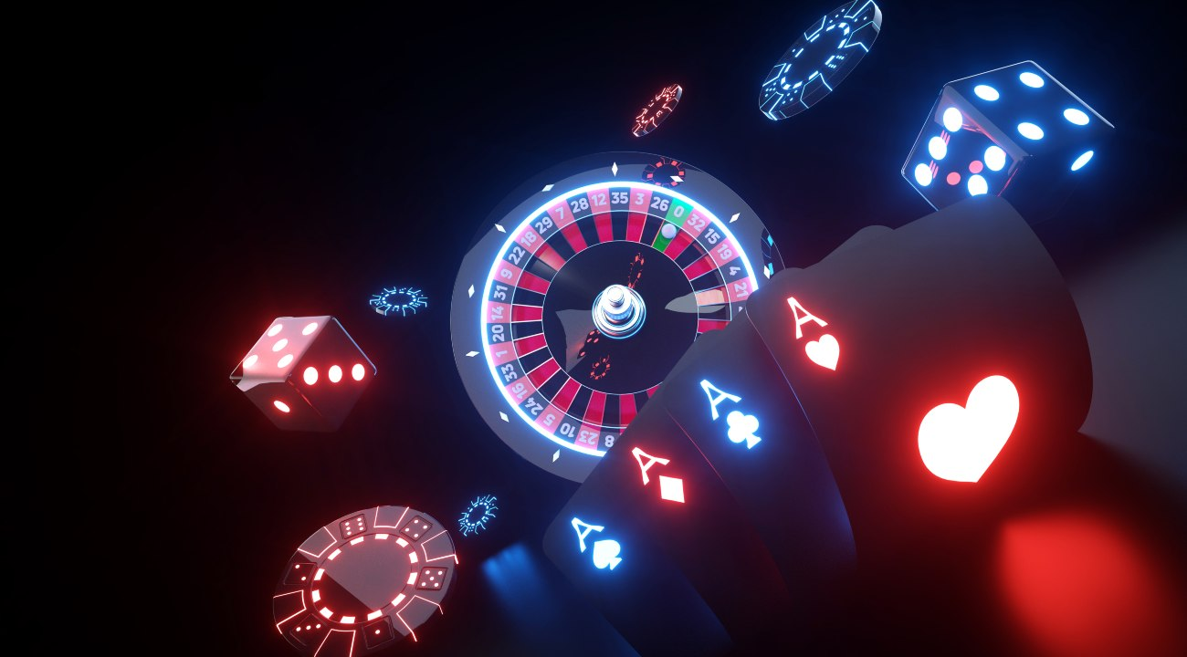 Casino gambling concept, poker cards, dice, casino chips with futuristic neon lights.