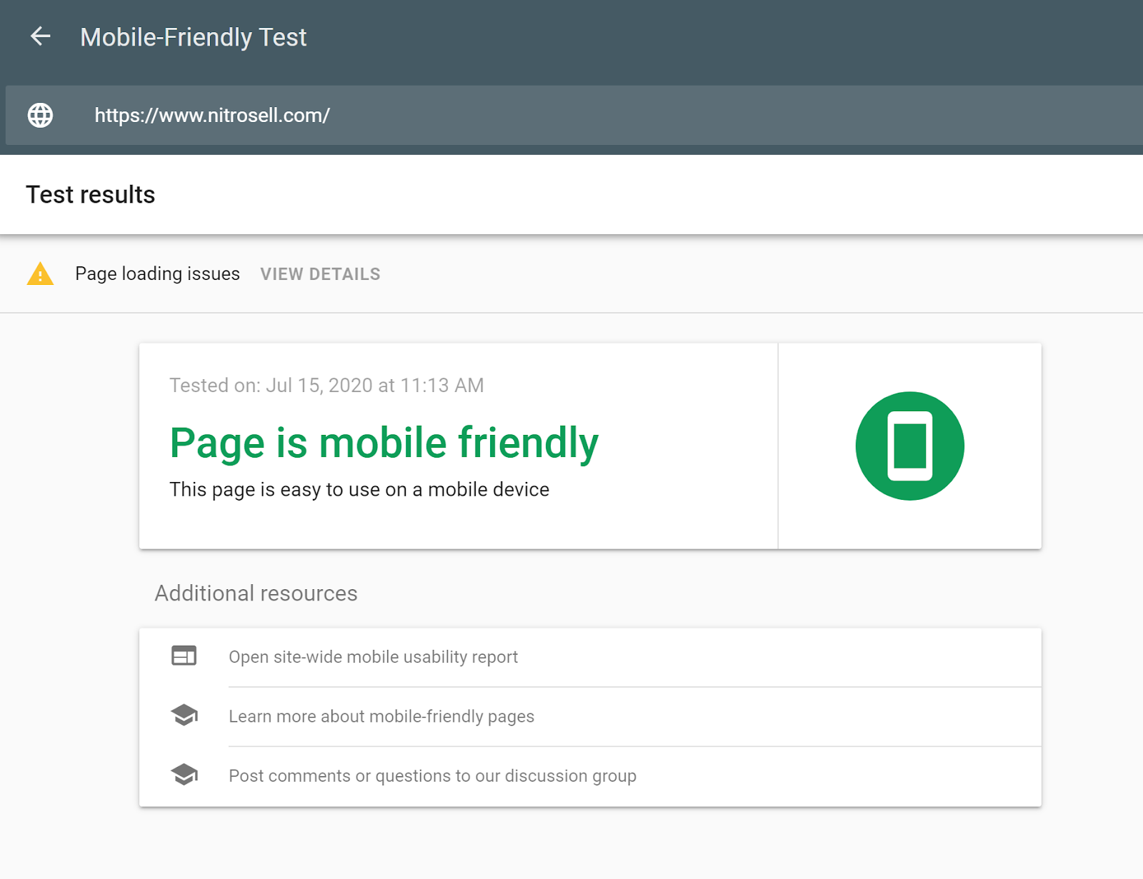 """Screenshot of a Mobile-Friendly Test results page showing a message which says: """"Page is mobile friendly""""."""