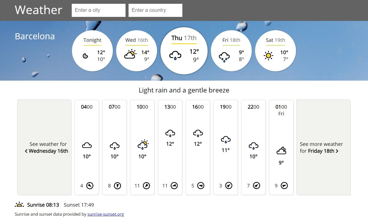 Josh's weather app