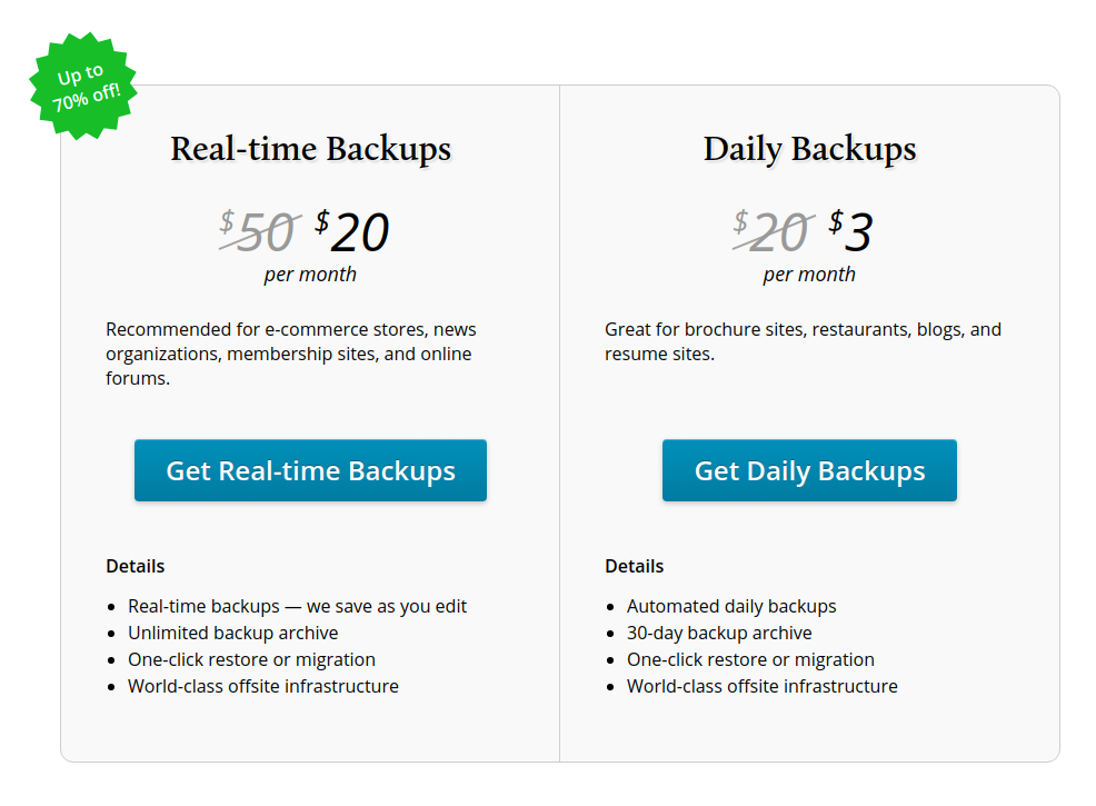 vaultpress wordpress backup plugin pricing