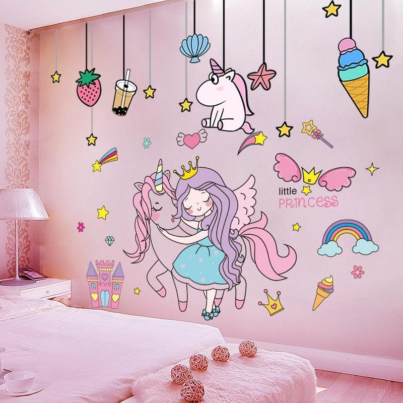 Unicorn Rainbow Wall Stickers for Girls Bedroom Decoration Girl Room Accessories