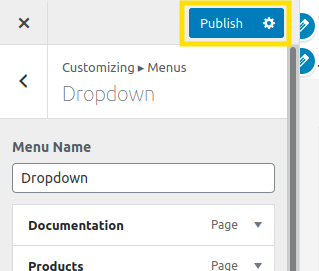 Screenshot of how to publish custom WordPress menu
