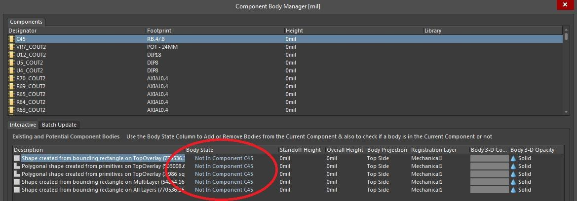 Screenshot of AD18 component body manager in 3D viewing software