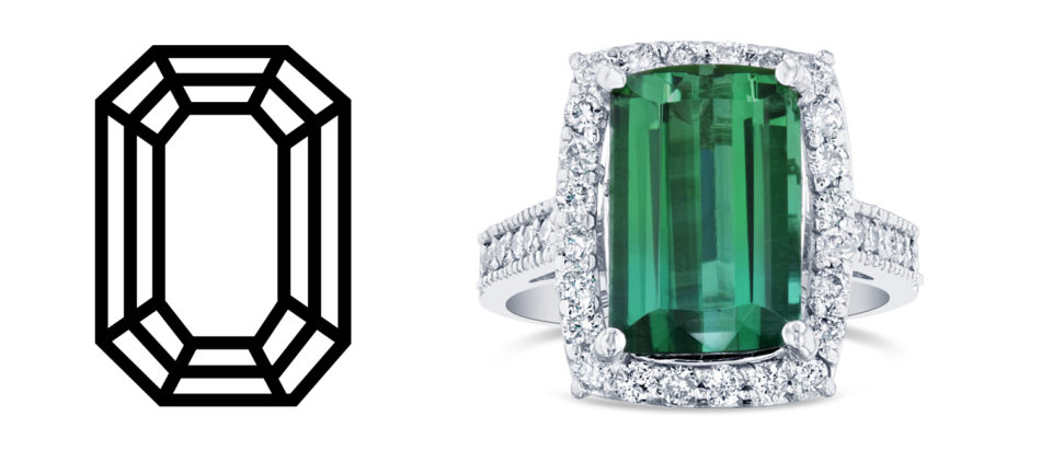 Green tourmaline, diamond ring and white gold ring