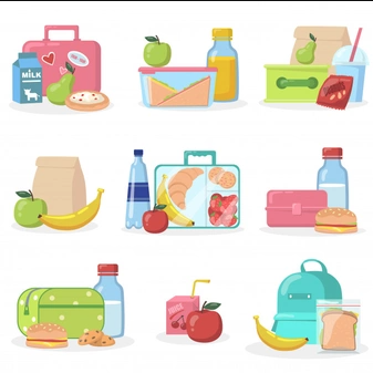 Image of a school meal with water, a apple and clear bag with a croissant, banaa, strawberries and cookies inside.