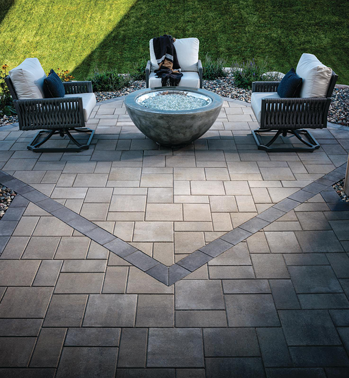slate patio with empty deck chairs