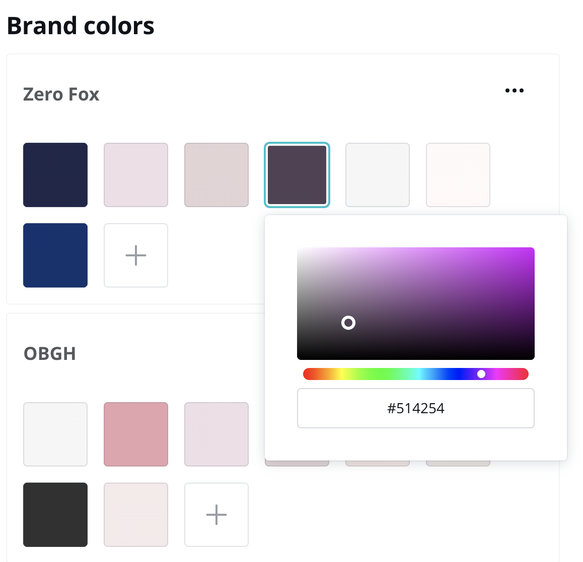 You can upload all your brand colours to Canva Pro in their brand kit feature