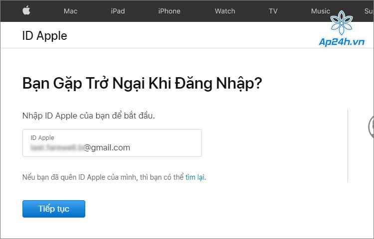 Nhập tên Apple ID theo yêu cầu của hệ thống