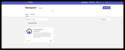 Screenshot of backpack page