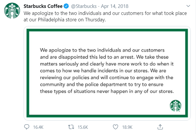 Starbucks apology tweet