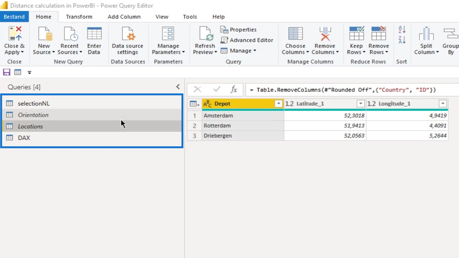 distance and bearing in Power BI for geospatial analysis