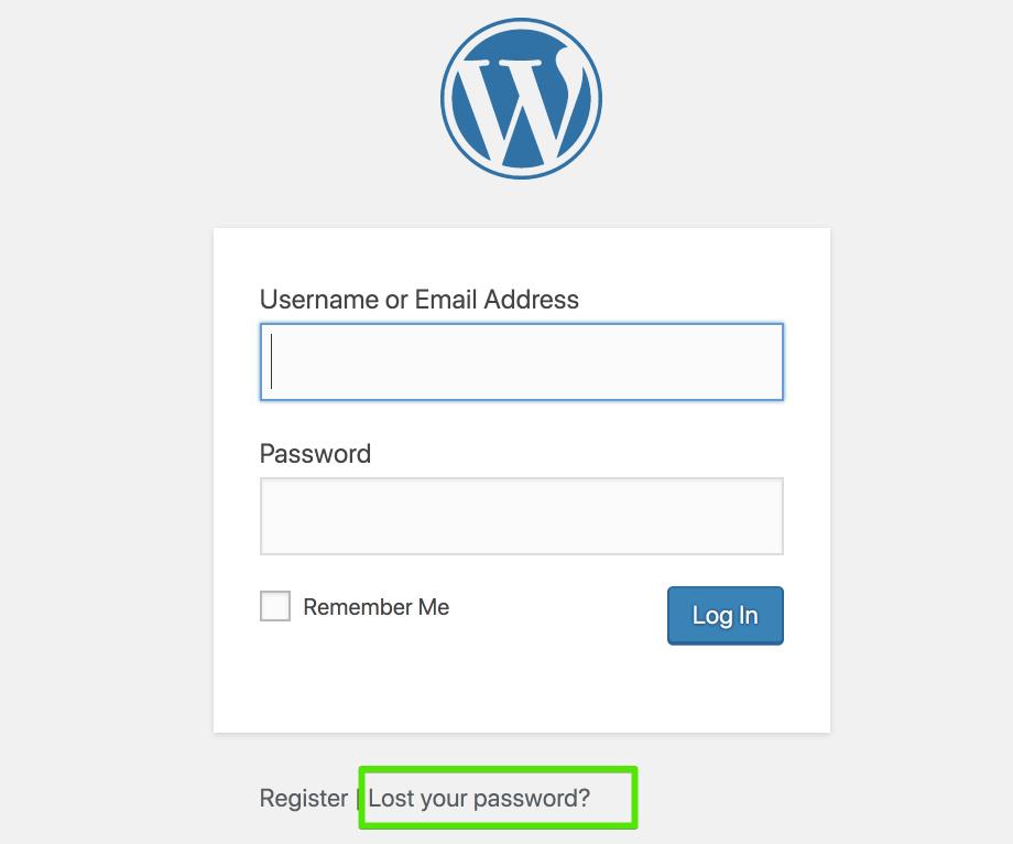 Screenshot of lost password text.