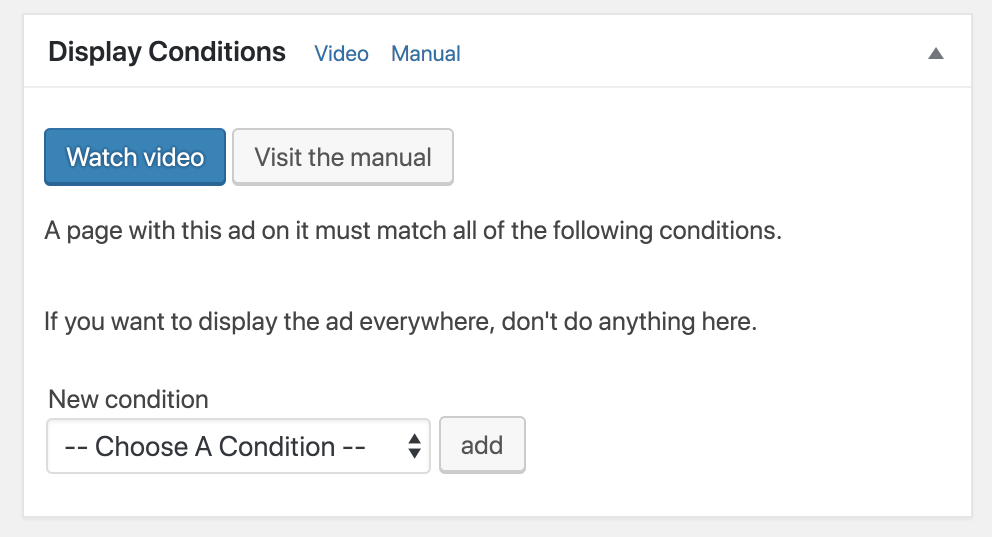 Advanced Ads display conditions.