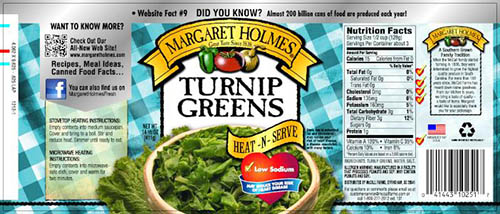Label, Margaret Holmes Turnip Greens