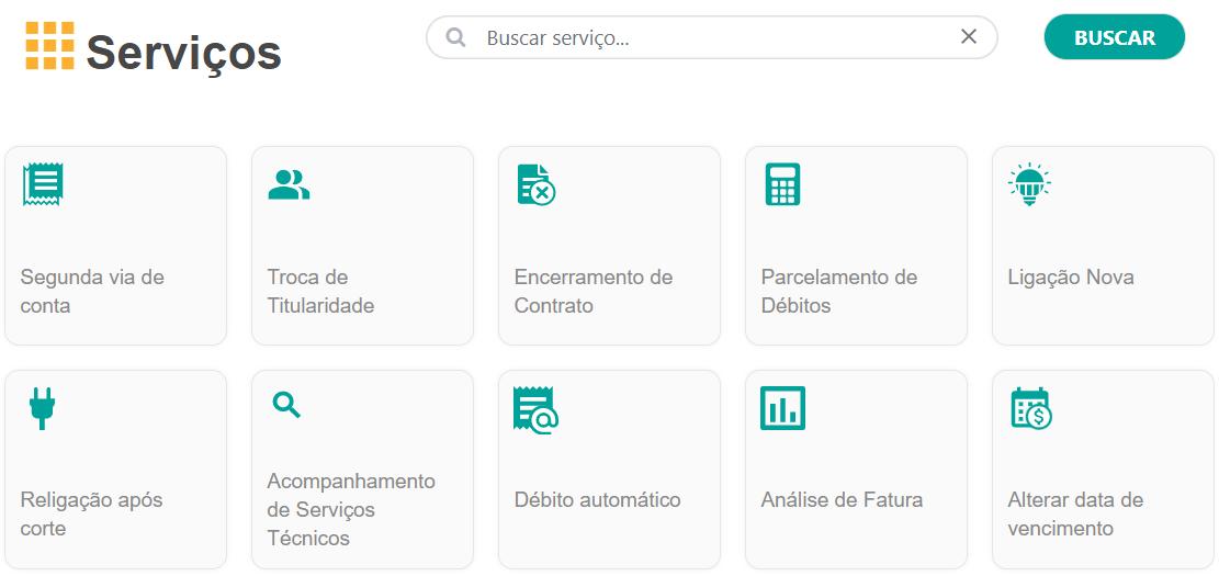 serviços de autoatendimento disponíveis na Agência Virtual Light