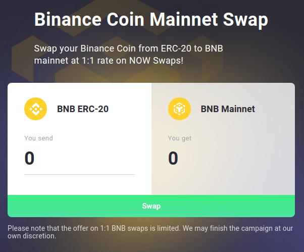 Binance Coin Mainnet Swap