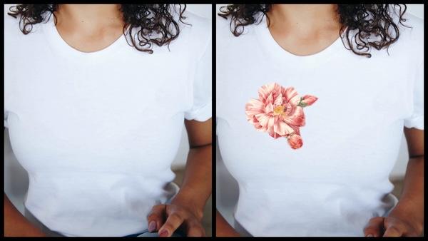 antes e depois da foto de uma mulher morena sendo que uma das fotos a camiseta está estampada