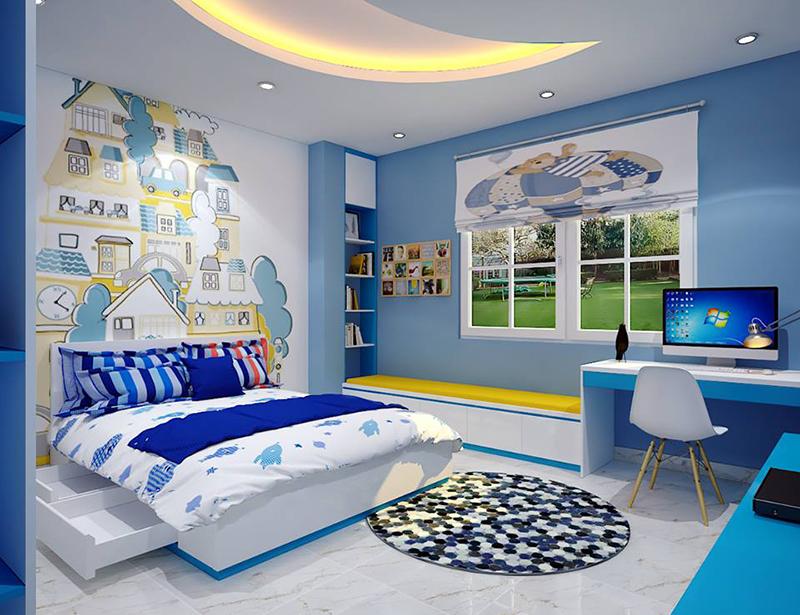 Mẫu nội thất phòng ngủ cho bé với gam màu xanh làm chủ đạo