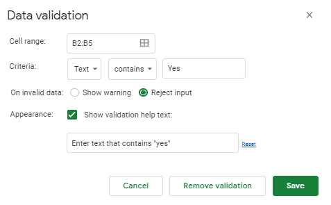 Shows the data validation box for text contains