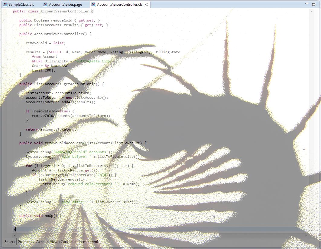 Bug shadows over Apex class