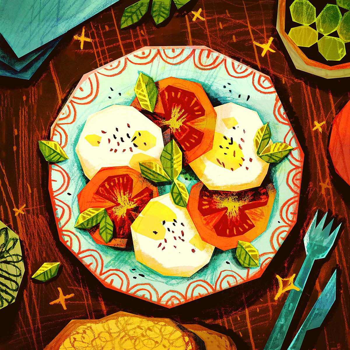 dishes Food  food illustration italian Italian food Italy pencil rustic textures traditional