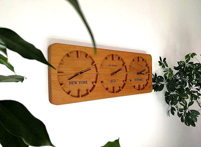 Three-Time Zone Wooden Wall Clock