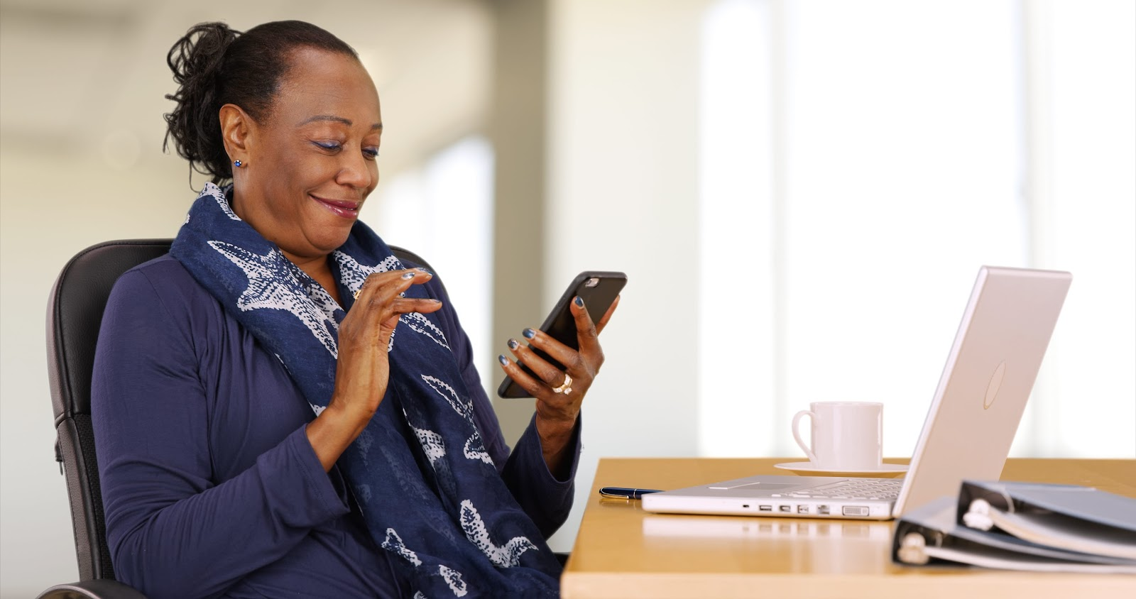 woman searching online on phone