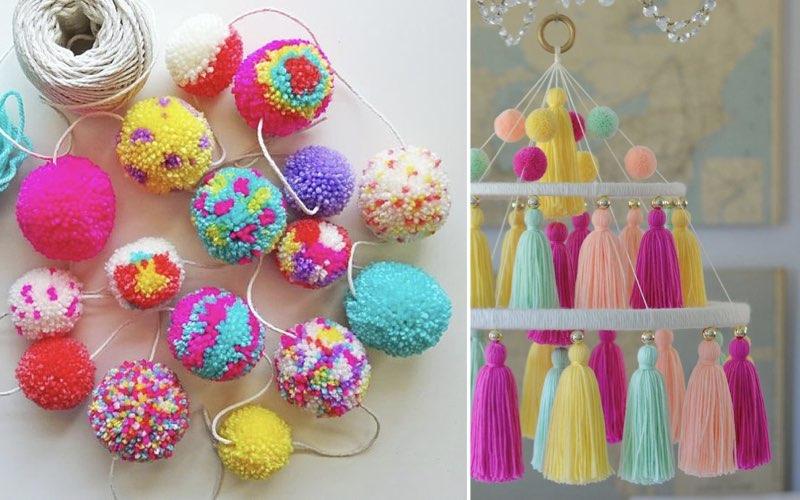 pom pom sebagai dekorasi baby shower sederhana