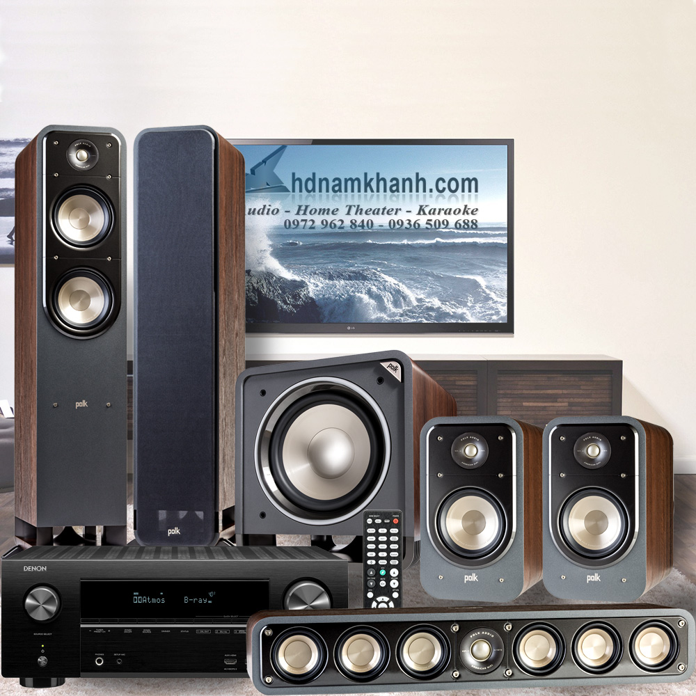 Amply Denon X2600H+Bộ 5.1 Polk Audio S55