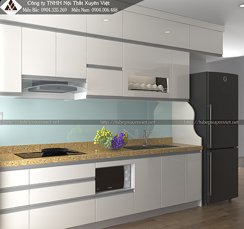 Tủ bếp nhựa Acrylic xuyên việt hình 1
