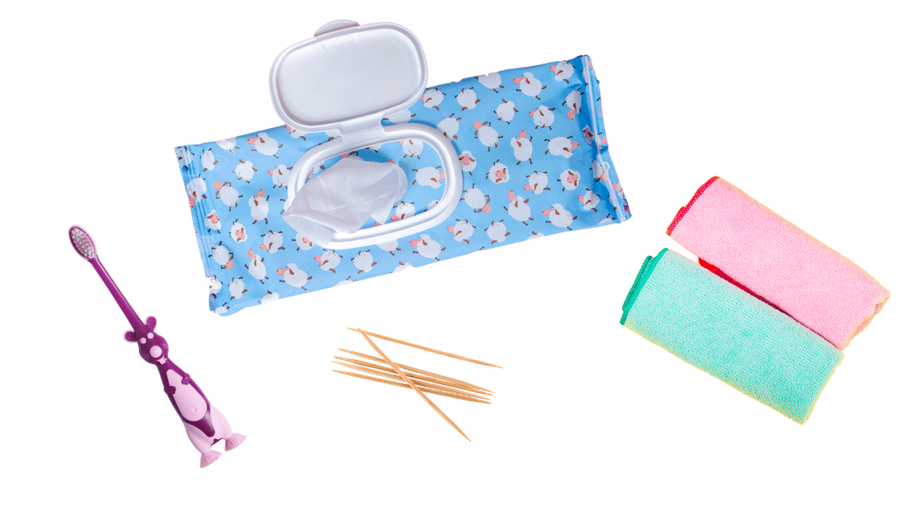 How to clean your watch kit, includes: a kids toothbrush, wet wipes, microfiber cloths, and toothpicks