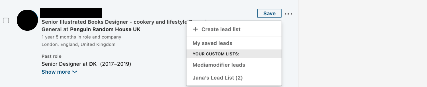 """Add a lead to a list by clicking the """"Save"""" button next to a person's name"""