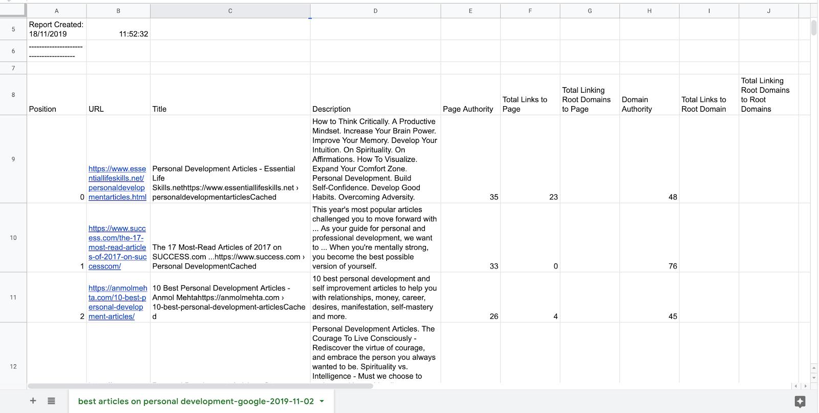 csv link results google sheets
