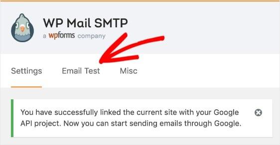 configuración SMTP de WP Mail y se mostrará un mensaje de éxito