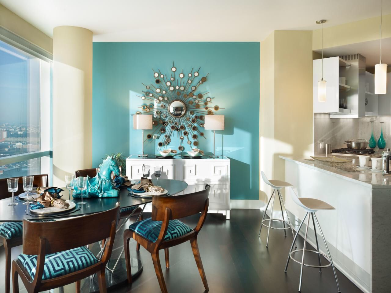 Turquoise Dining Room Accent Wall