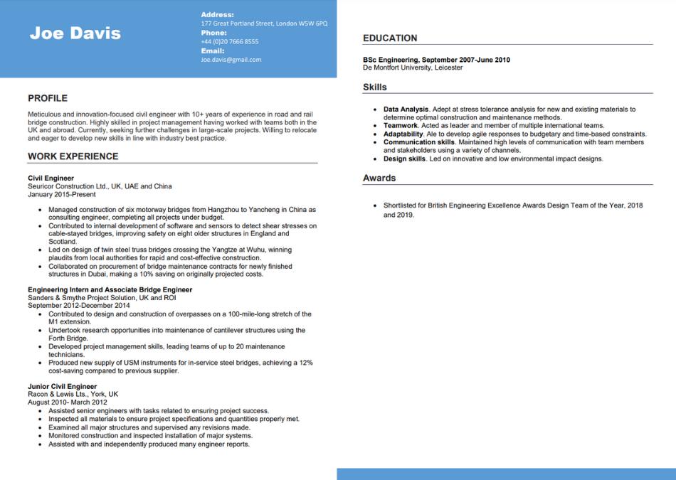 A sample CV