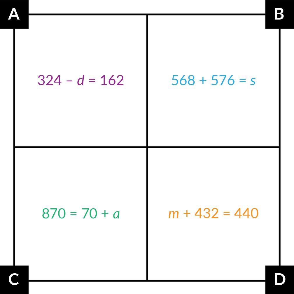In A, 324 minus 'd' = 162. In B, 568 + 576 = 's'. In C, 870 = 70 + 'a'. In D, 'm' + 432 = 440.