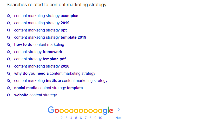 google suggested terms that can be used for content marketing