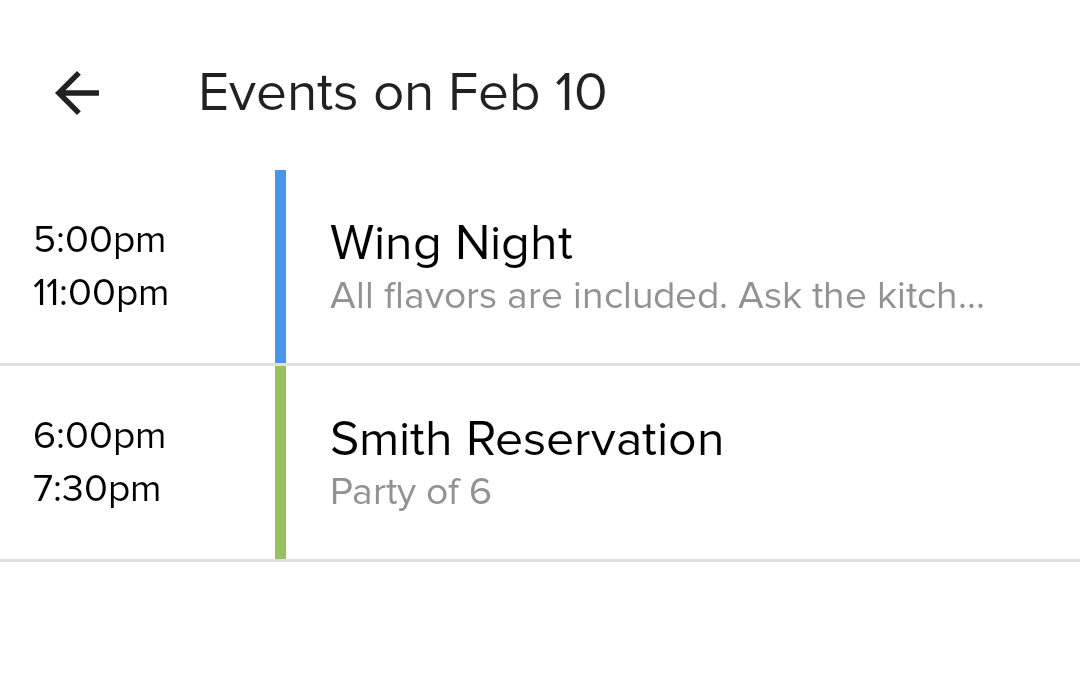 Event notifications tool for Restaurant managers and owners