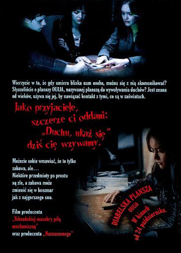 Tył ulotki filmu 'Diabelska Plansza Ouija'