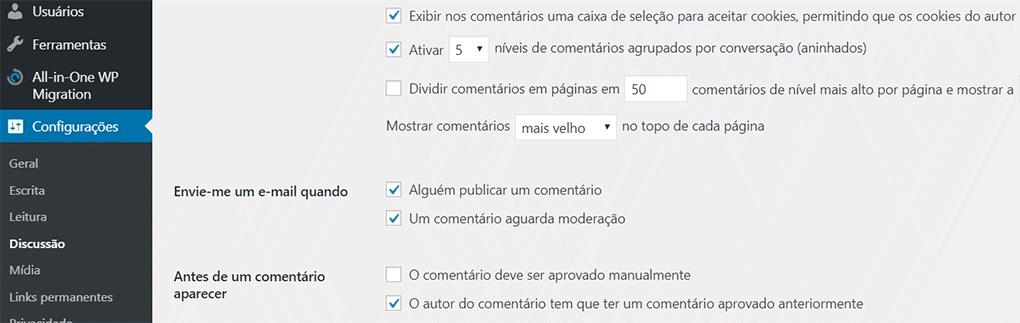 página de configurações de discussão no painel do wordpress