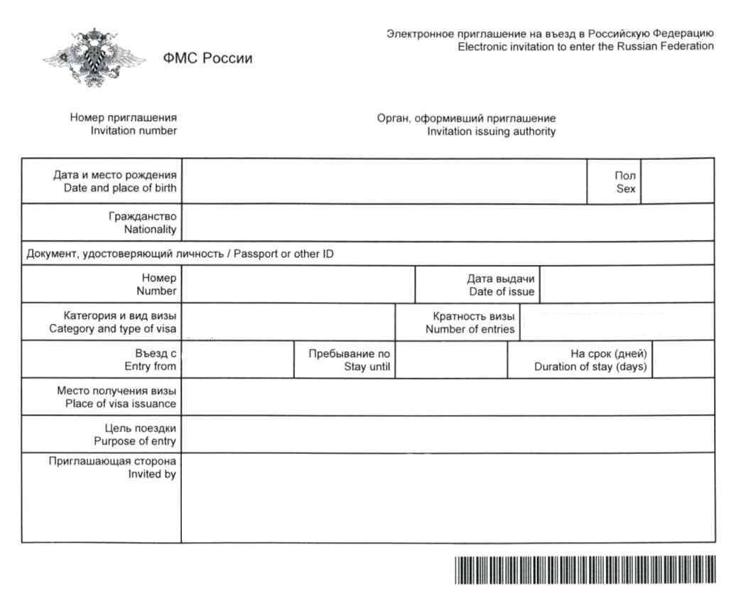 Частное приглашение в Россию электронный формат