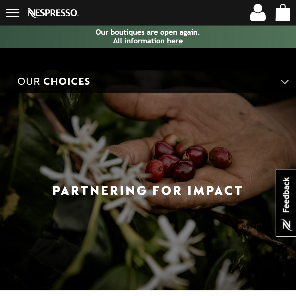 Nespresso landingpage for partnerships