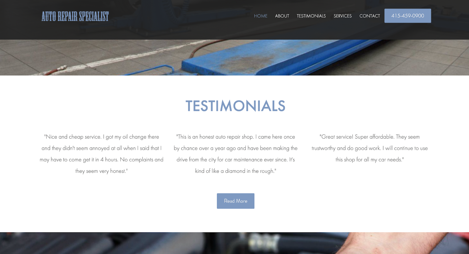 Example Reviews and Testimonials Auto Shop Page