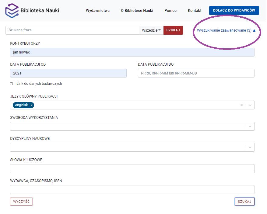 Widok wyszukiwarki zaawansowanej z filtrami: kontrybutorzy, data publikacji od i język główny publikacji. Na zrzucie ekranu zaznaczona jest liczba zastosowanych filtrów widoczna w prawym górnym rogu.