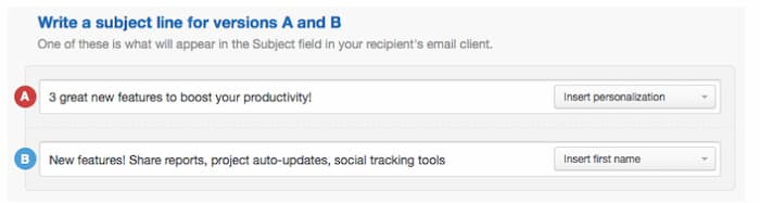 Ví dụ về việc triển khai chiến lược tiếp thị qua email được gọi là thử nghiệm phân tách dòng tiêu đề