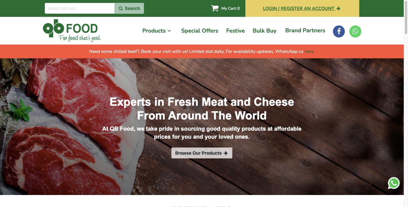 QB Food ecommerce website design